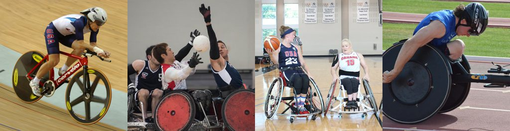 Collage of Paralympic cyclist, wheelchair rugby players, wheelchair basketball players and track athlete