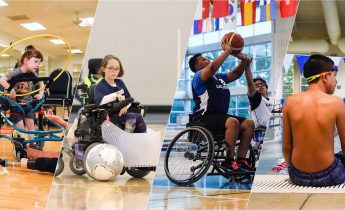 four children hula hooping, playing power soccer and wheelchair basketball and swimming