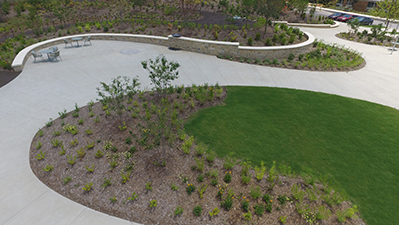 Winding concrete path and gathering space with seating areas surrounded by grass