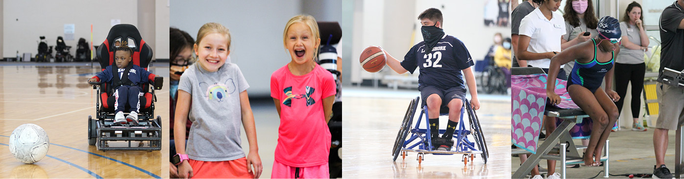 A boy plays power soccer, two girls smile, a boy plays wheelchair basketball, and a girl dives into the pool